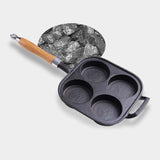 SOGA 2X 4 Mold Cast Iron Breakfast Fried Egg Pancake Omelette Fry Pan