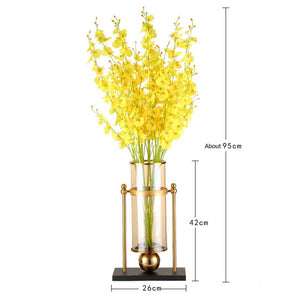 SOGA 40cm Modern Transparent Glass Flower Vase with Yellow Artificial Flower
