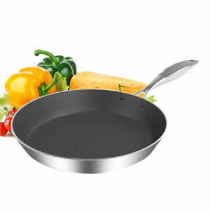 SOGA Stainless Steel Fry Pan 24cm Frying Pan Induction FryPan Non Stick Interior