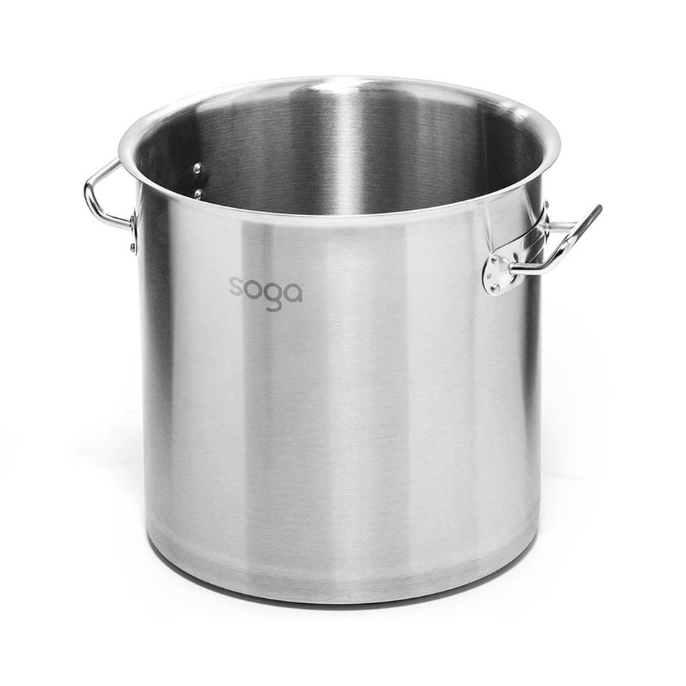 SOGA Stock Pot 12L Top Grade Thick Stainless Steel Stockpot 18/10