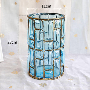 SOGA Blue Glass Cylinder Flower Vase with 10 Bunch 6 Heads Artificial Fake Silk Lilium nanum Home Decor Set