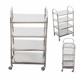 SOGA 4 Tier Stainless Steel Kitchen Dinning Food Cart Trolley Utility Size Square Large