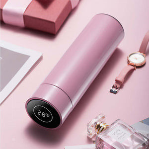 SOGA 500ML Stainless Steel Smart LCD Thermometer Display Bottle Vacuum Flask Thermos Pink
