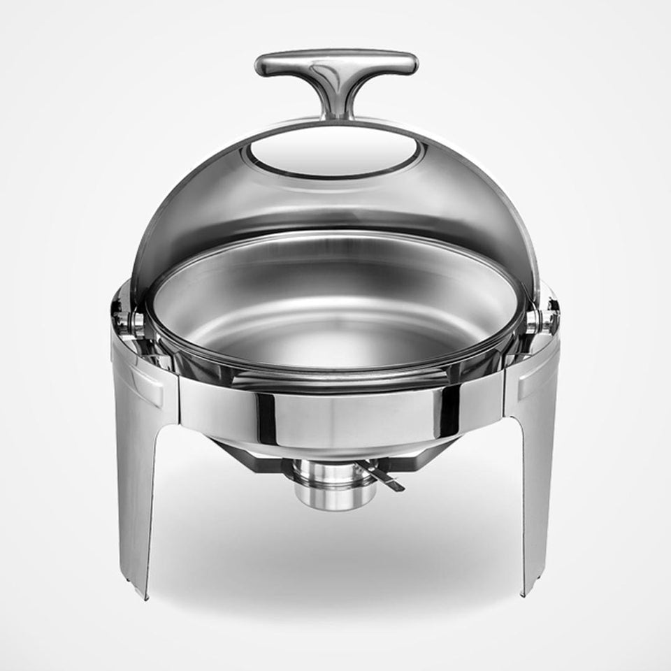 SOGA 6L Round Chafing Stainless Steel Food Warmer with Glass Roll Top