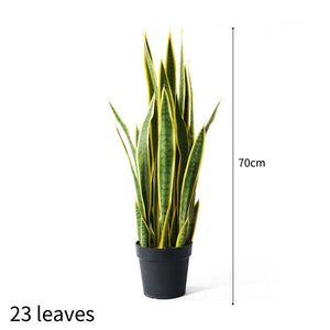 SOGA 70cm Artificial Indoor Yellow Edge Tiger Piran Fake Decoration Tree Flower Pot Plant