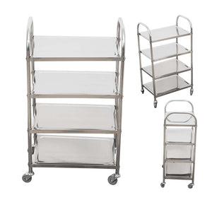 SOGA 4 Tier Stainless Steel Kitchen Dining Food Cart Trolley Utility 860x540x1170