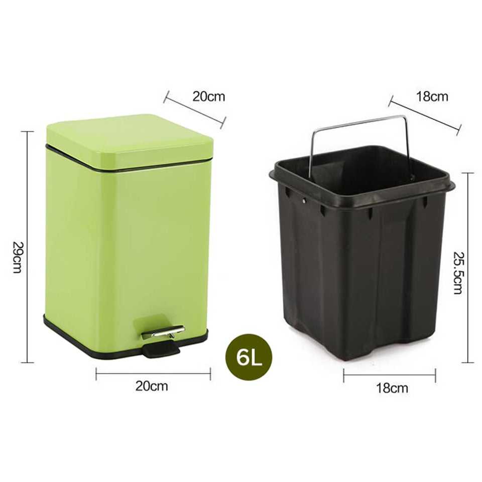SOGA 2X Foot Pedal Stainless Steel Rubbish Recycling Garbage Waste Trash Bin Square 6L Green