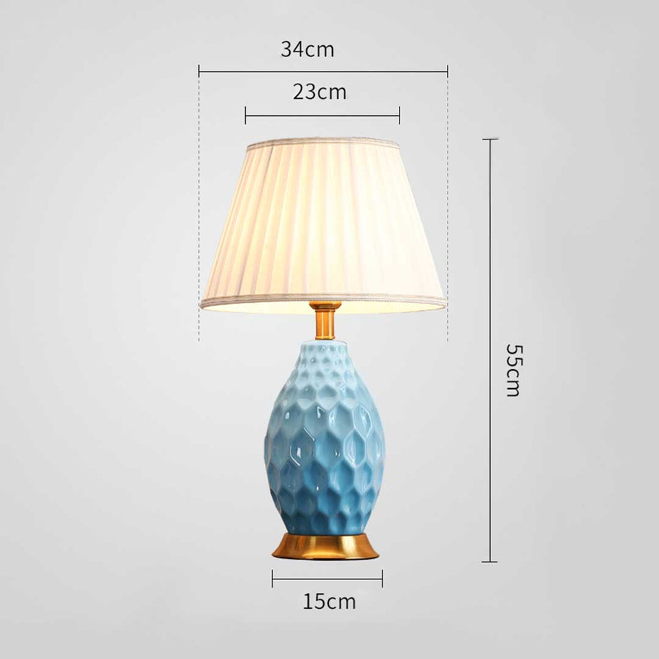 SOGA Textured Ceramic Oval Table Lamp with Gold Metal Base Blue