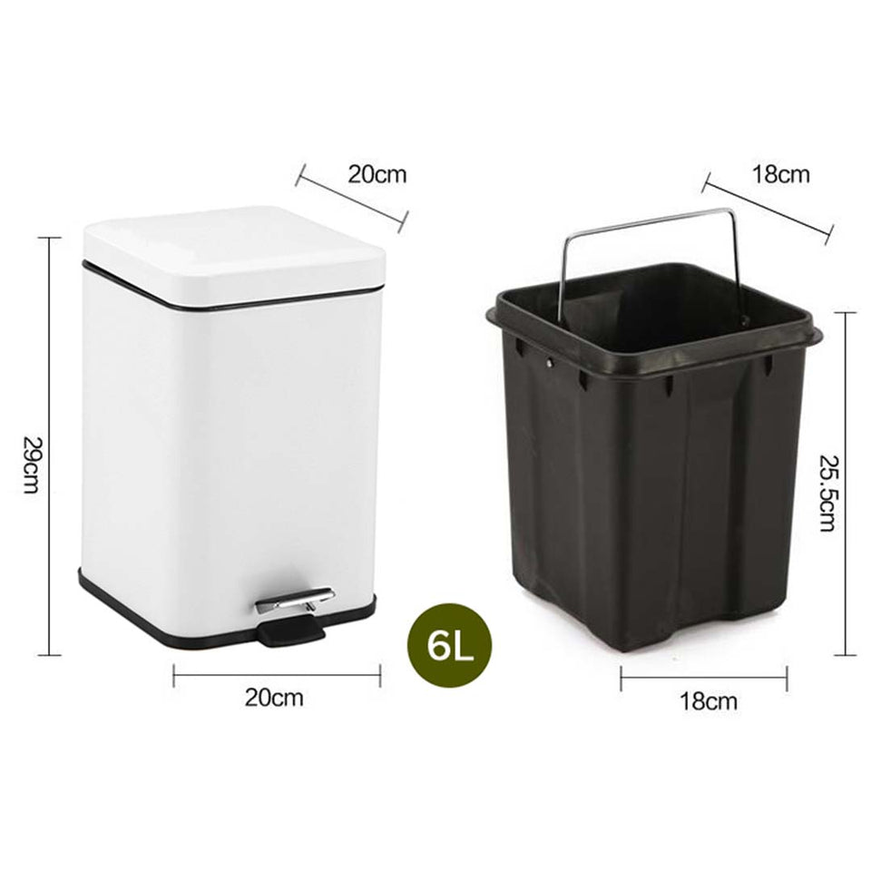 SOGA Foot Pedal Stainless Steel Rubbish Recycling Garbage Waste Trash Bin Square 6L White