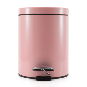 SOGA 4X Foot Pedal Stainless Steel Rubbish Recycling Garbage Waste Trash Bin Round 7L Pink