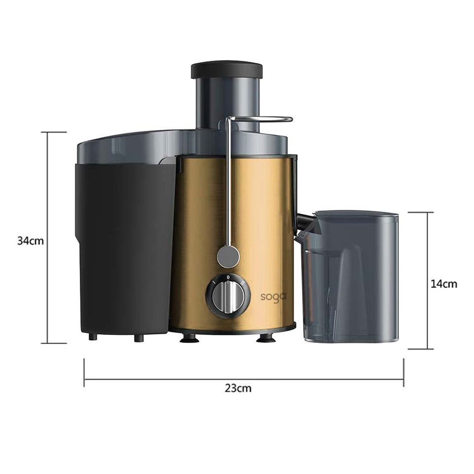 SOGA 2X Juicer 400W Professional Stainless Steel Whole Fruit Vegetable Juice Extractor Diet Gold