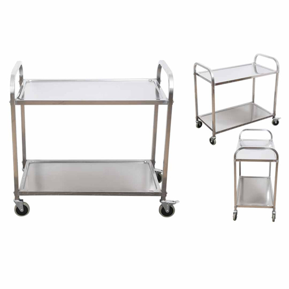 SOGA 2 Tier Stainless Steel Kitchen Dinning Food Cart Trolley Utility Size 75x40x83.5cm Small