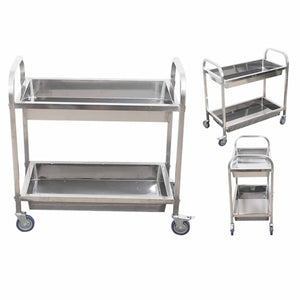 SOGA 2 Tier Stainless Steel Kitchen Trolley Bowl Collect Service Food Cart 75×40×83cm Small