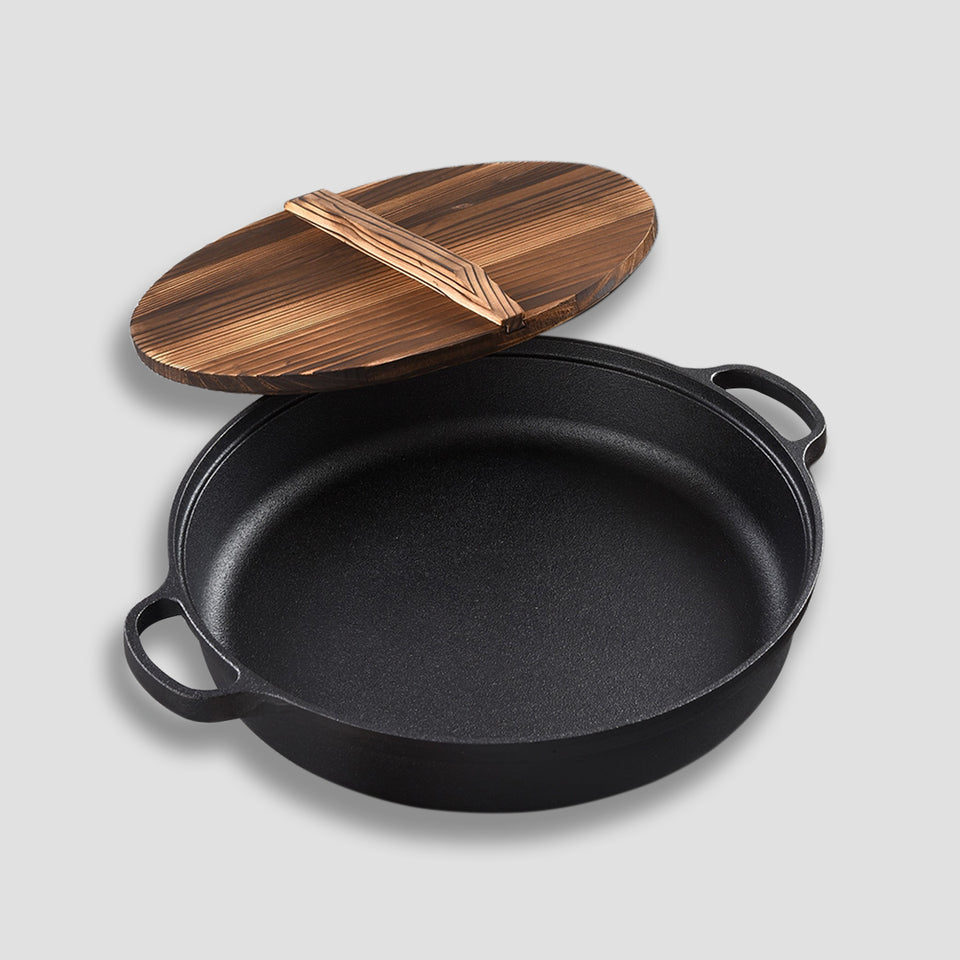 SOGA 35cm Round Cast Iron Pre-seasoned Deep Baking Pizza Frying Pan Skillet with Wooden Lid