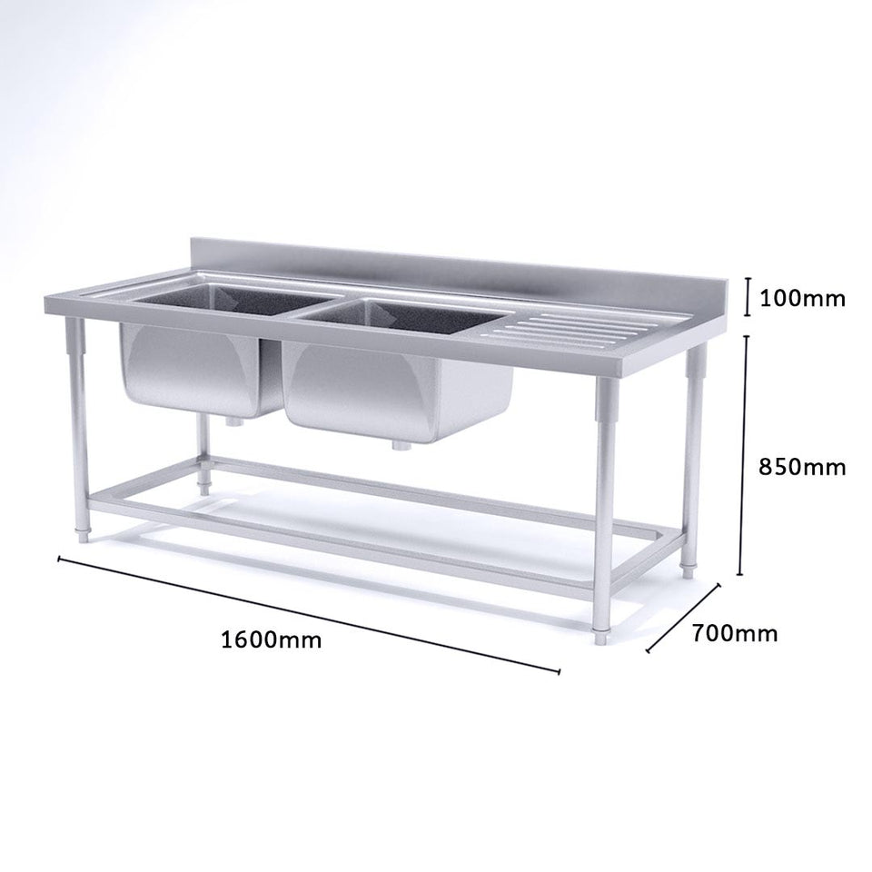 SOGA Commercial Kitchen Double Sink Work Bench Stainless Steel Food Prep 160*70*85cm