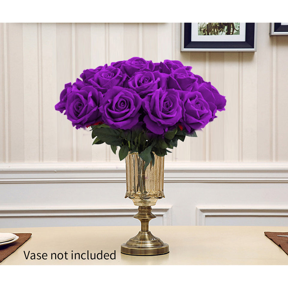 SOGA 10pcs Artificial Silk Flower Fake Rose Bouquet Table Decor Purple