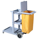 SOGA 3 Tier Multifunction Janitor Cleaning Waste Cart Trolley and Waterproof Bag with Lid