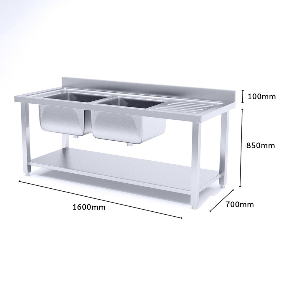 SOGA Stainless Steel Double Sink Bowl Work Bench Commercial Restaurant Food Prep Table 160*70*85cm