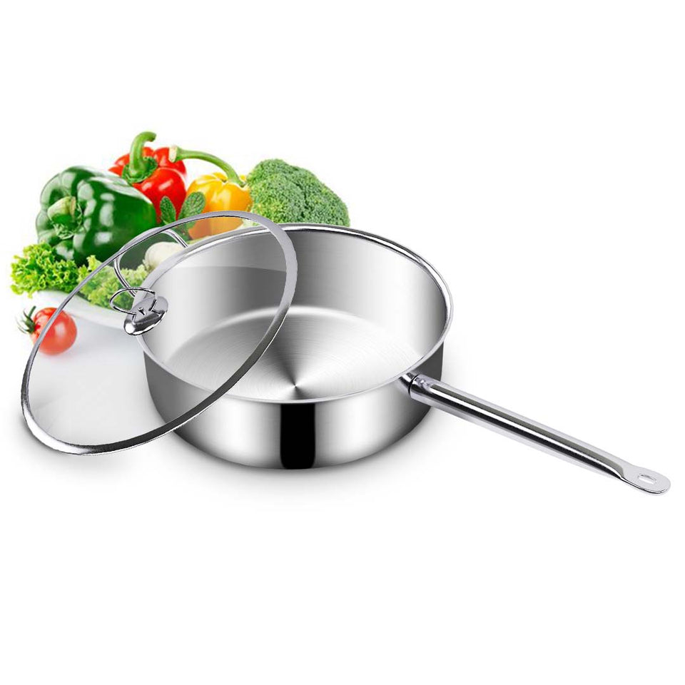SOGA 2X 26cm Stainless Steel Saucepan Sauce pan with Glass Lid and Helper Handle Triple Ply Base Cookware