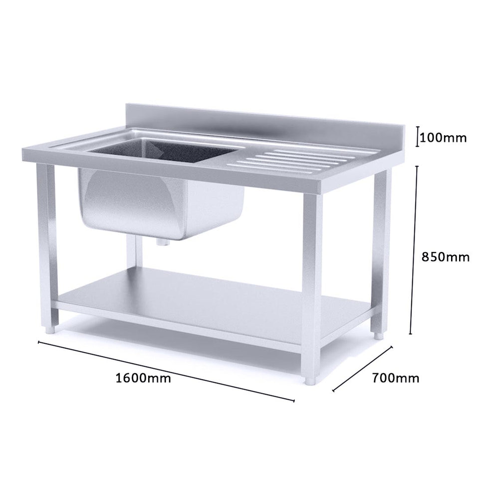 SOGA Commercial Kitchen Sink Work Bench Stainless Steel Food Prep Table 160*70*85cm