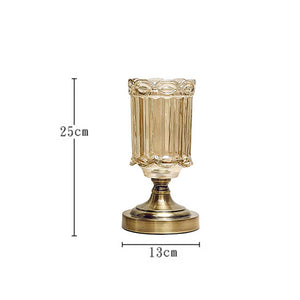 SOGA 25cm Transparent Glass Flower Vase with Metal Base Filler Vase