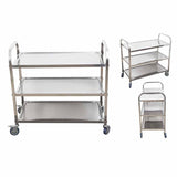 SOGA 3 Tier Stainless Steel Kitchen Dinning Food Cart Trolley Utility Size 95x50x95cm Large