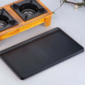 SOGA Double Burner Cast Iron Flat and Ridged Griddle Stove Top Grill BBQ Plate