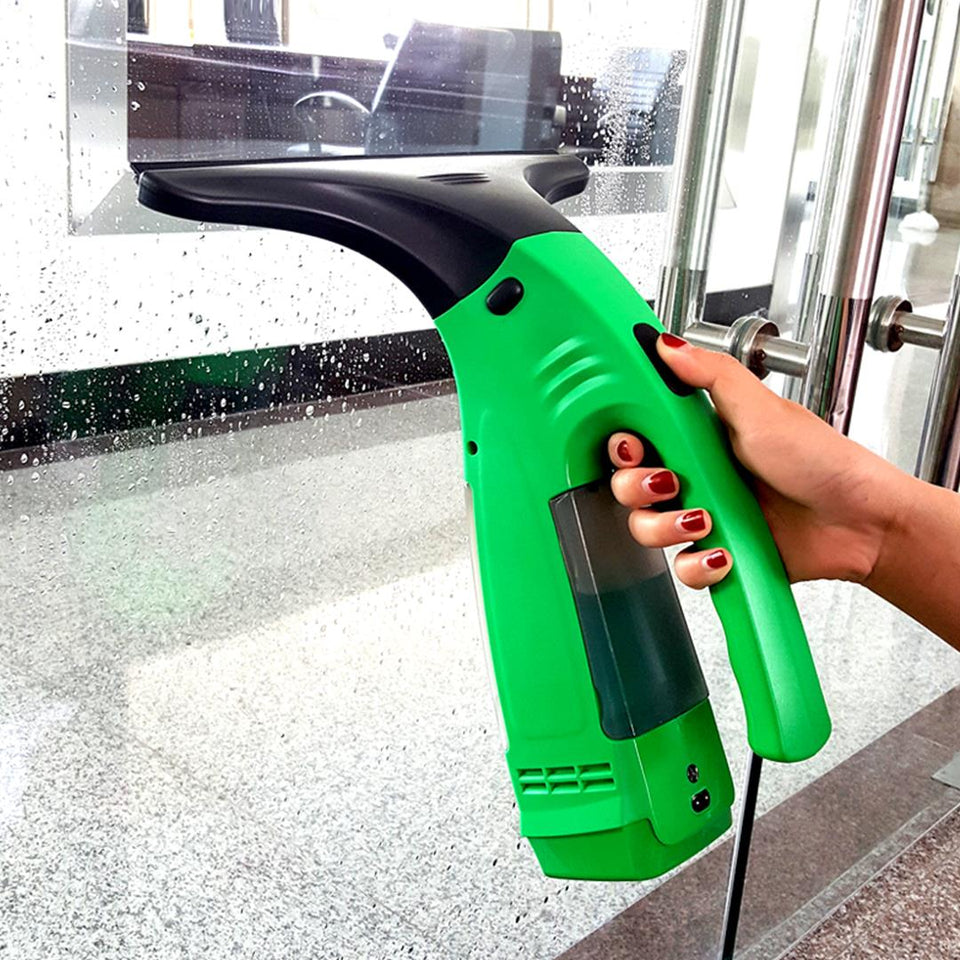 Electric Window Cleaner Wiper Green Bathroom Shower Squeegee Glass Screen Tile Car Green