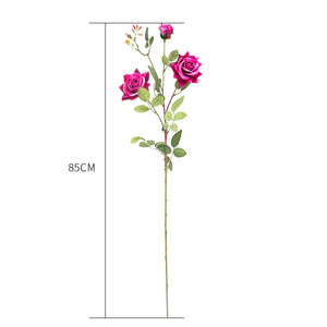 SOGA 85cm Green Glass Tall Floor Vase and 12pcs Dark Pink Artificial Fake Flower Set