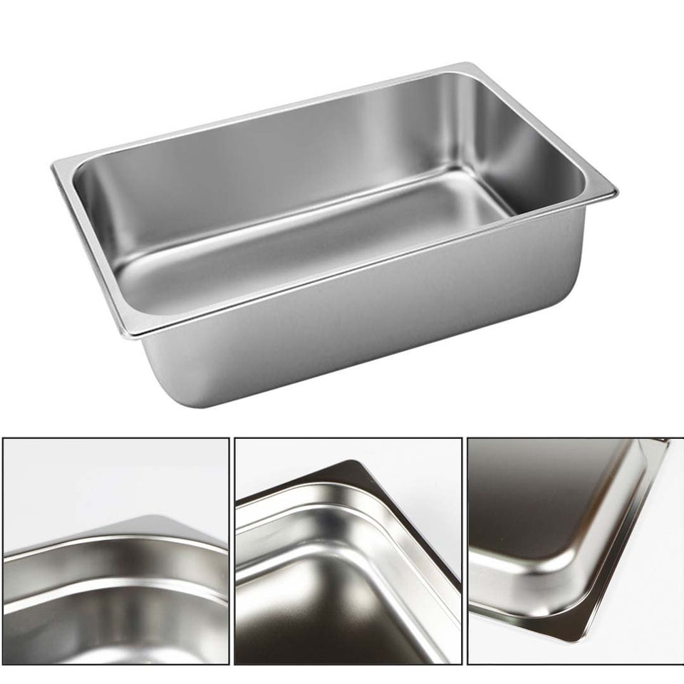 SOGA 6X Gastronorm GN Pan Full Size 1/1 GN Pan 20cm Deep Stainless Steel Tray With Lid