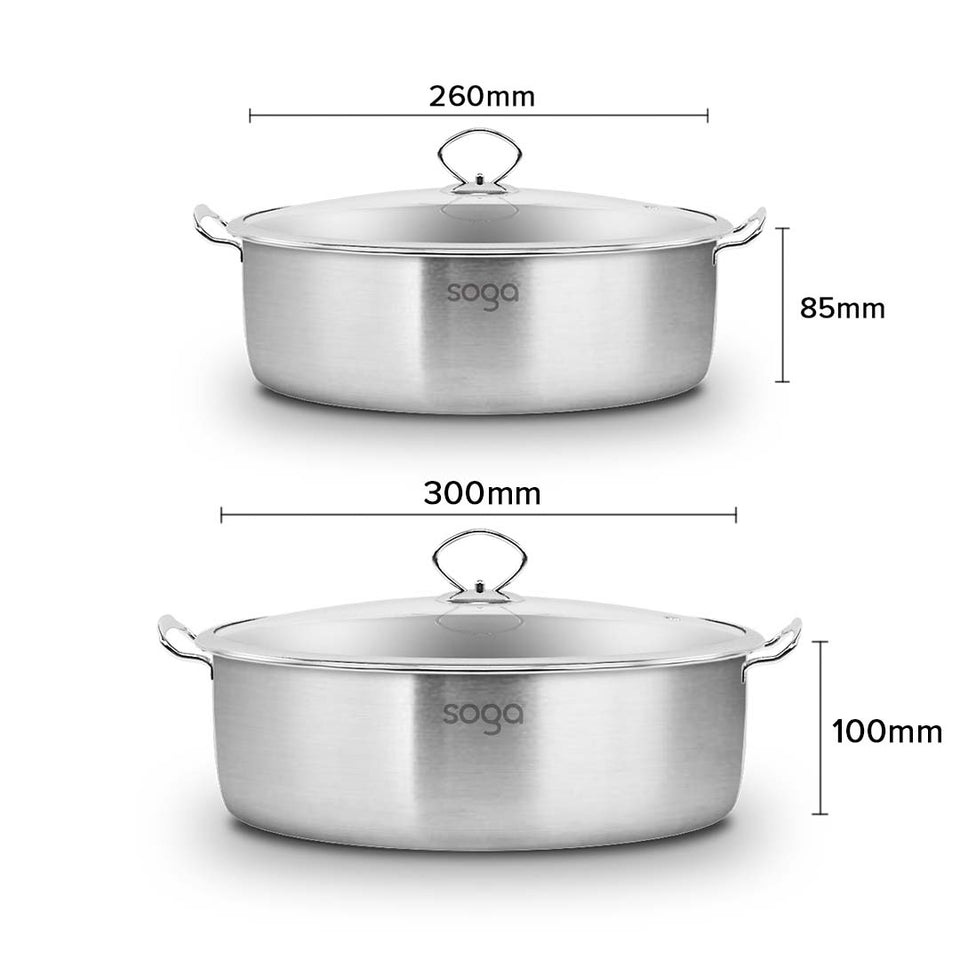 SOGA Stainless Steel 26cm 30cm Casserole With Lid Induction Cookware