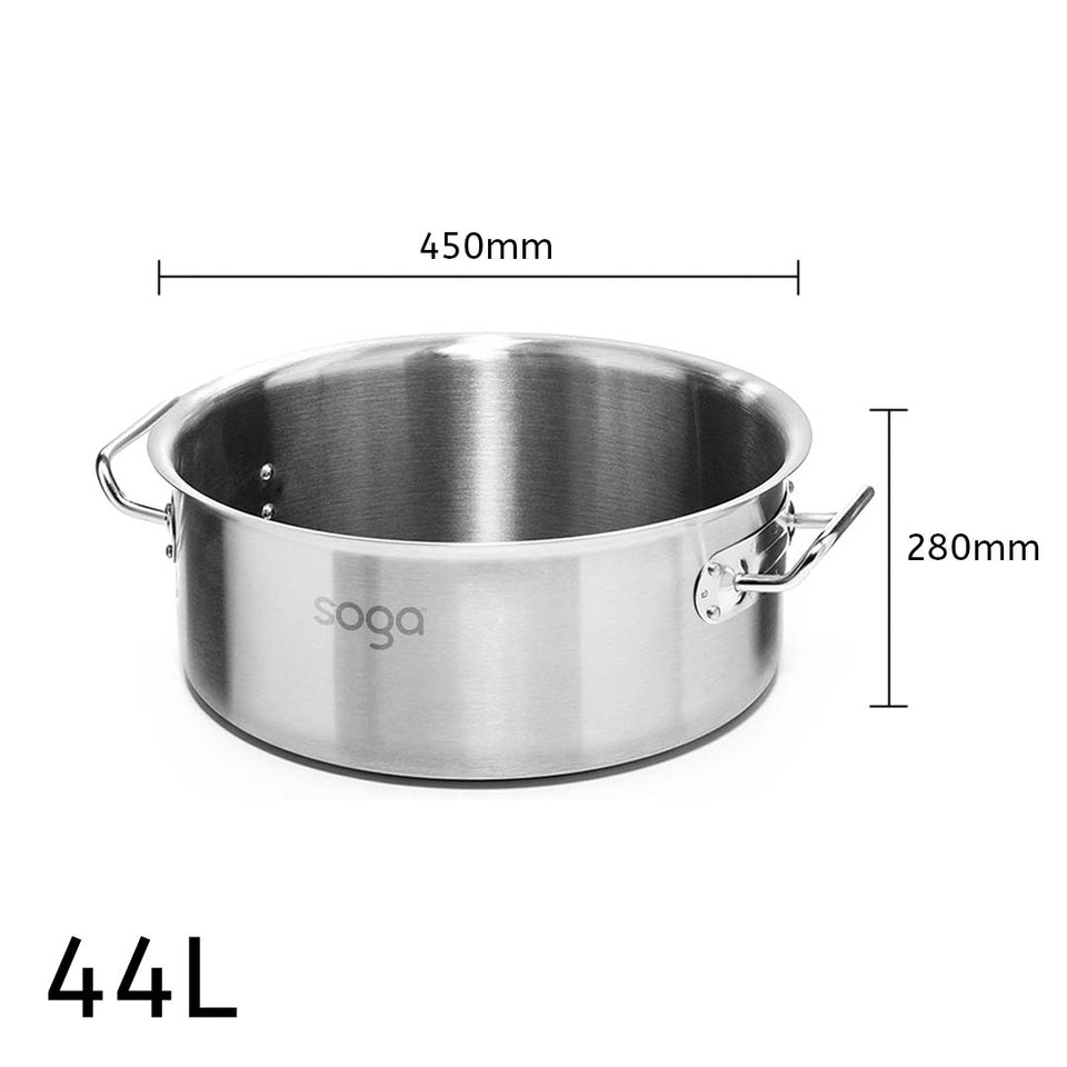 SOGA Stock Pot 44L Top Grade Thick Stainless Steel Stockpot 18/10 Without Lid