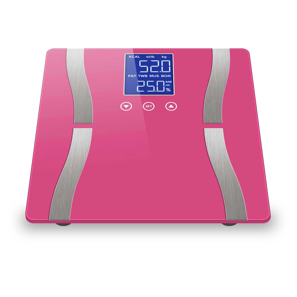 SOGA Digital Body Fat Scale Bathroom Scales Weight Gym Glass Water LCD Electronic Pink