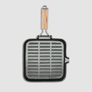 SOGA 2X 28cm Ribbed Cast Iron Square Steak Frying Grill Skillet Pan with Folding Wooden Handle
