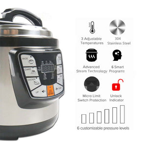 SOGA Stainless Steel Electric Pressure Cooker 6L Nonstick 1600W