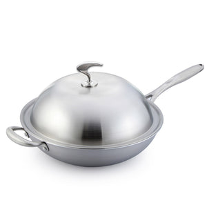 SOGA 2X 18/10 Stainless Steel Fry Pan 36cm Frying Pan Top Grade Skillet with Helper Handle and Lid