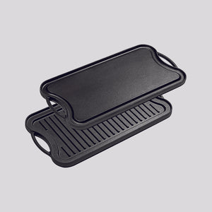 SOGA 50.8cm Cast Iron Ridged Griddle Hot Plate Grill Pan BBQ Stovetop