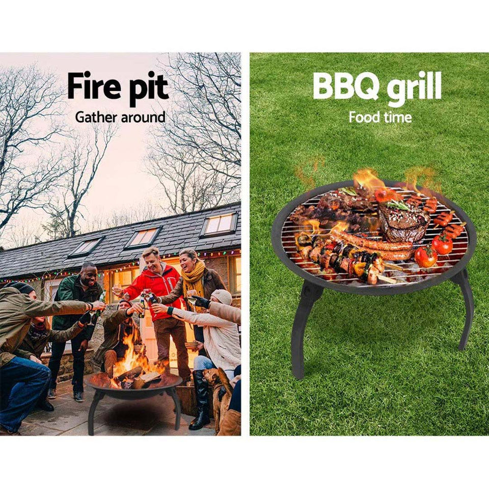 SOGA 2X 2 in 1 Outdoor Portable Fold Fire Pit BBQ Grill Patio Camping Heater Fireplace 56cm