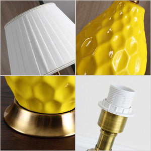SOGA Textured Ceramic Oval Table Lamp with Gold Metal Base Yellow