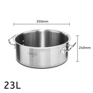 SOGA Stock Pot 23L Top Grade Thick Stainless Steel Stockpot 18/10 Without Lid