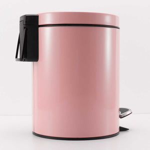 SOGA 2X Foot Pedal Stainless Steel Rubbish Recycling Garbage Waste Trash Bin Round 12L Pink