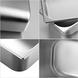 SOGA 4X Gastronorm GN Pan Full Size 1/3 GN Pan 15cm Deep Stainless Steel Tray With Lid