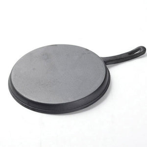 SOGA 2X 26cm Round Cast Iron Frying Pan Skillet Griddle Sizzle Platter