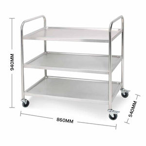 SOGA 3 Tier Stainless Steel Kitchen Dinning Food Cart Trolley Utility Round 86x54x94cm Large