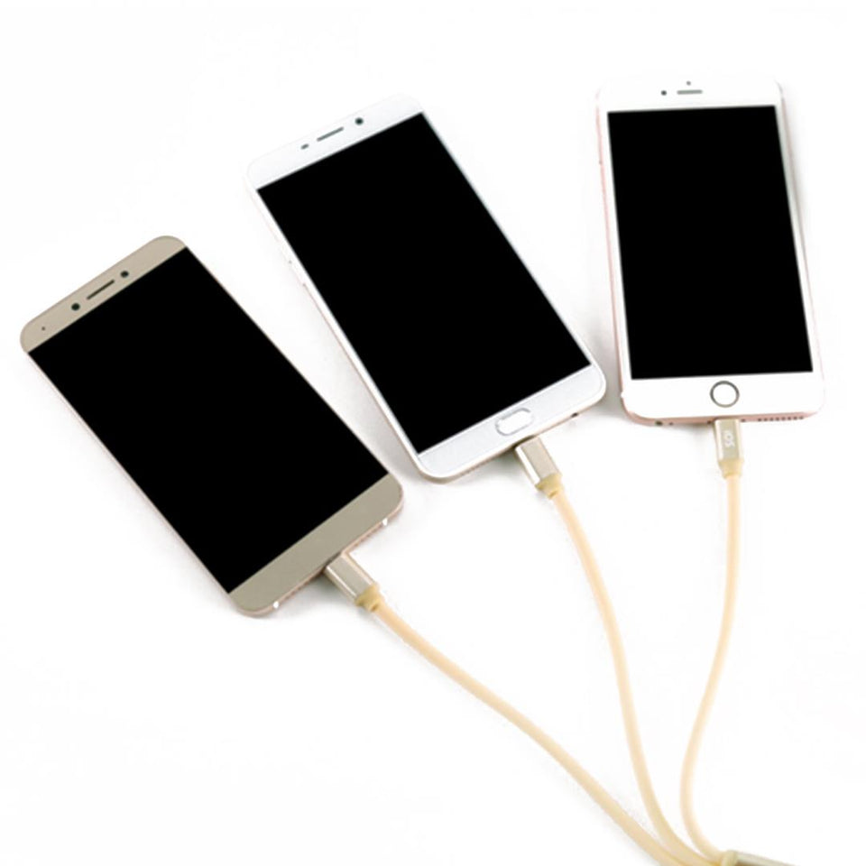 3 in 1 Micro Usb Lightning Type C Date Charge Sync Cable Silver For iPhone Samsung