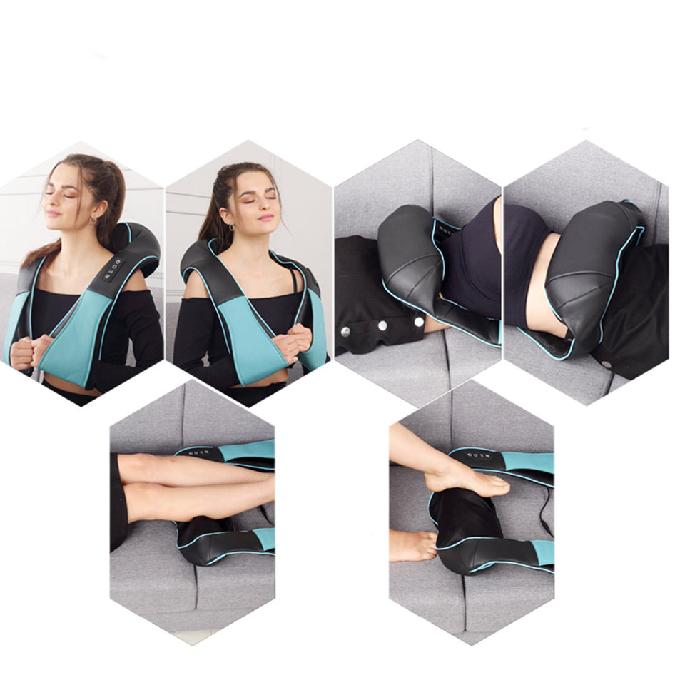 SOGA 2X Electric Kneading Back Neck Shoulder Massage Arm Body Massager Blue