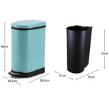 SOGA 2X Foot Pedal Stainless Steel Rubbish Recycling Garbage Waste Trash Bin U Blue 10L