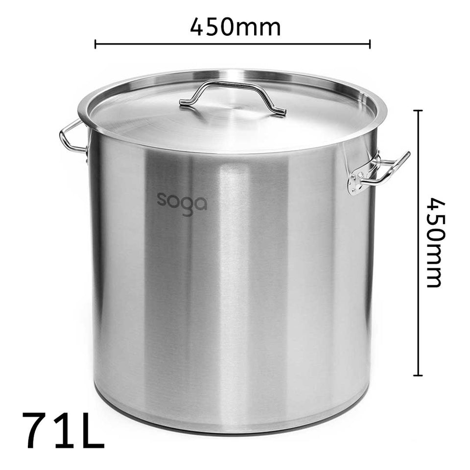 SOGA Stock Pot 71L Top Grade Thick Stainless Steel Stockpot 18/10