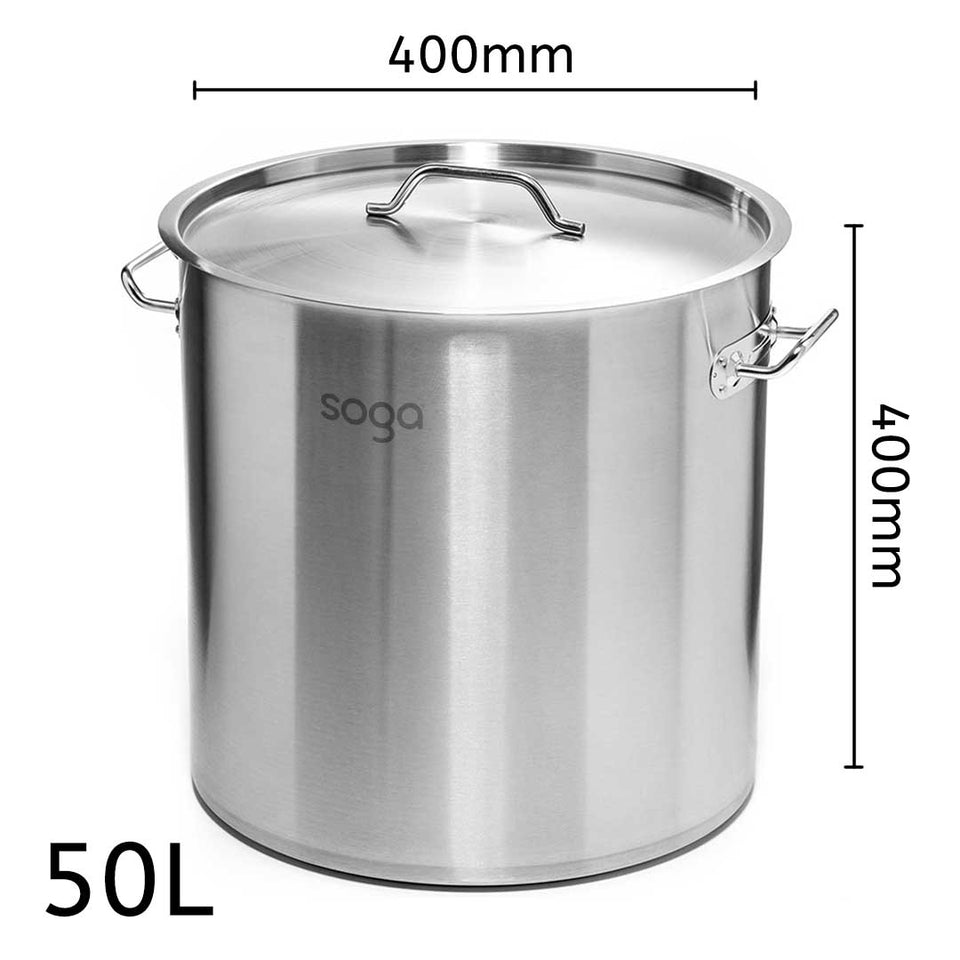 SOGA Stock Pot 50Lt Top Grade Thick Stainless Steel Stockpot 40CM 18/10 RRP $325