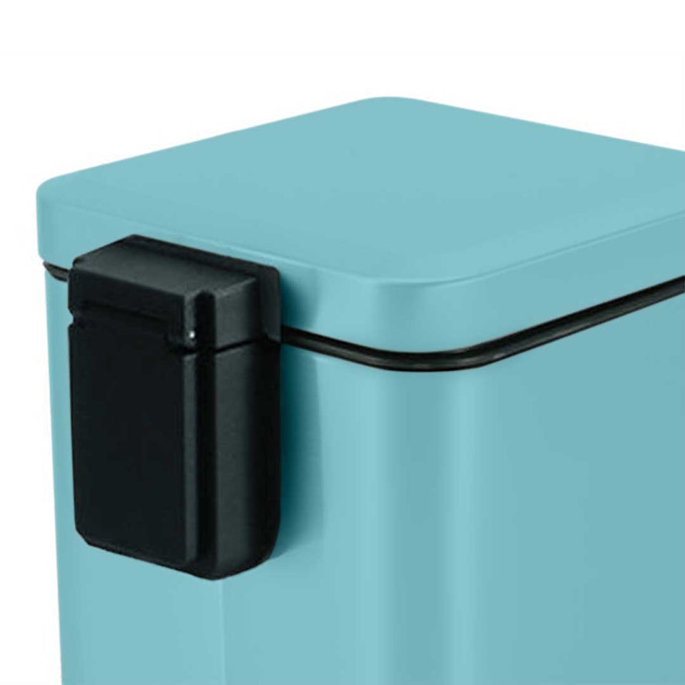 SOGA 2X Foot Pedal Stainless Steel Rubbish Recycling Garbage Waste Trash Bin Square 6L Blue